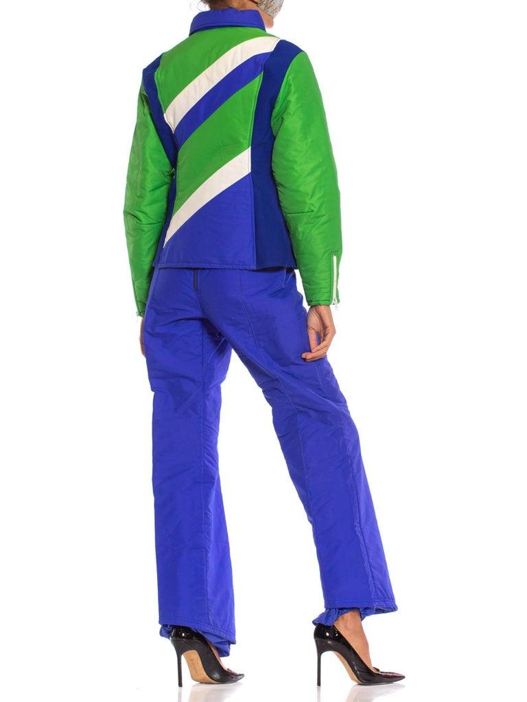 Women's 1970S Blue & Green Nylon Austrian Mod Ski Jacket Pants Ensemble For Sale
