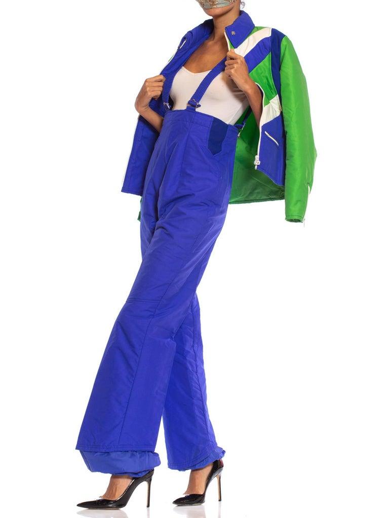 1970S Blue & Green Nylon Austrian Mod Ski Jacket Pants Ensemble For Sale 1