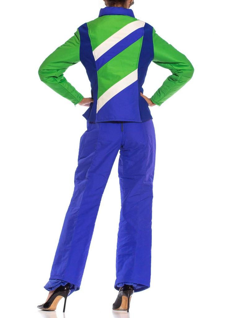 1970S Blue & Green Nylon Austrian Mod Ski Jacket Pants Ensemble For Sale 2