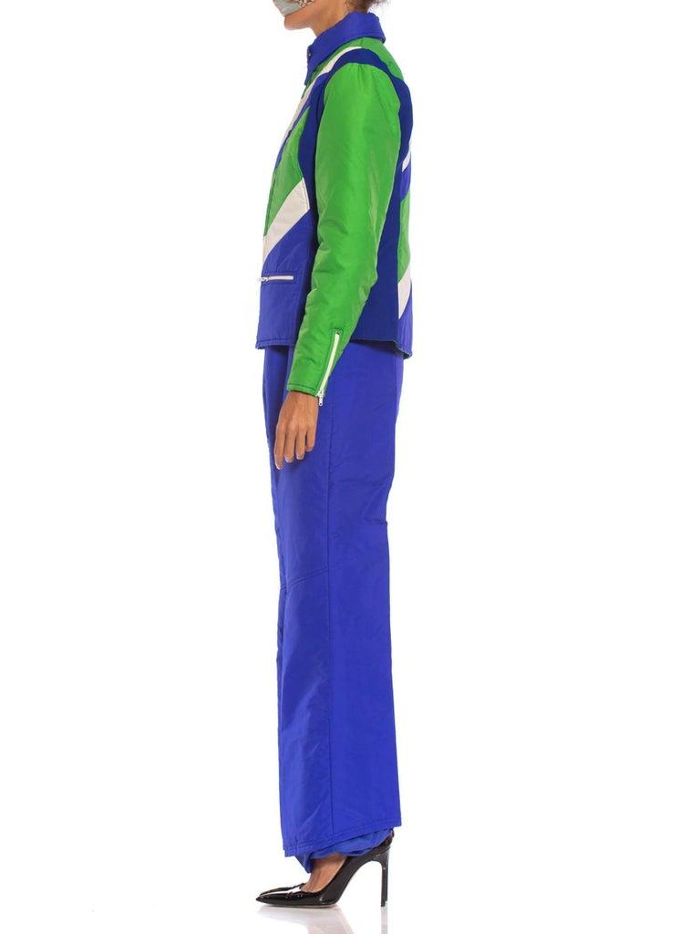 1970S Blue & Green Nylon Austrian Mod Ski Jacket Pants Ensemble For Sale 3