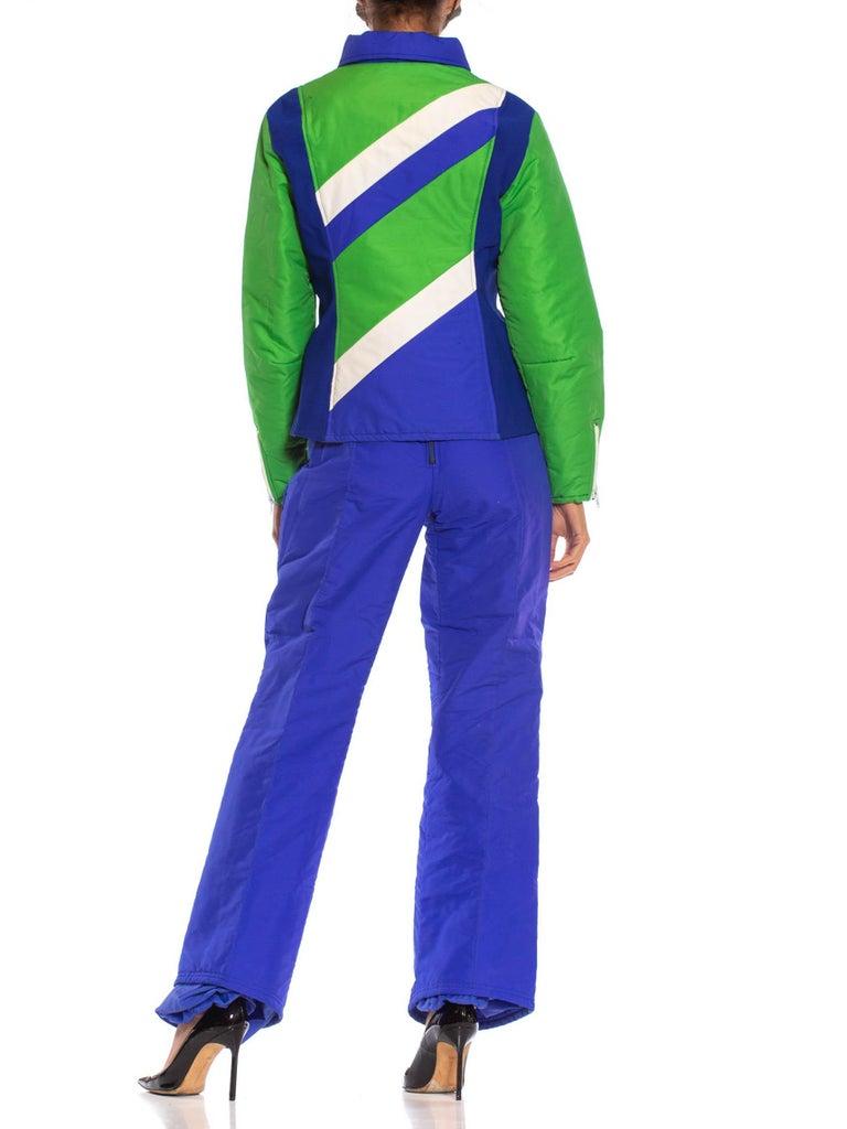 1970S Blue & Green Nylon Austrian Mod Ski Jacket Pants Ensemble For Sale 4