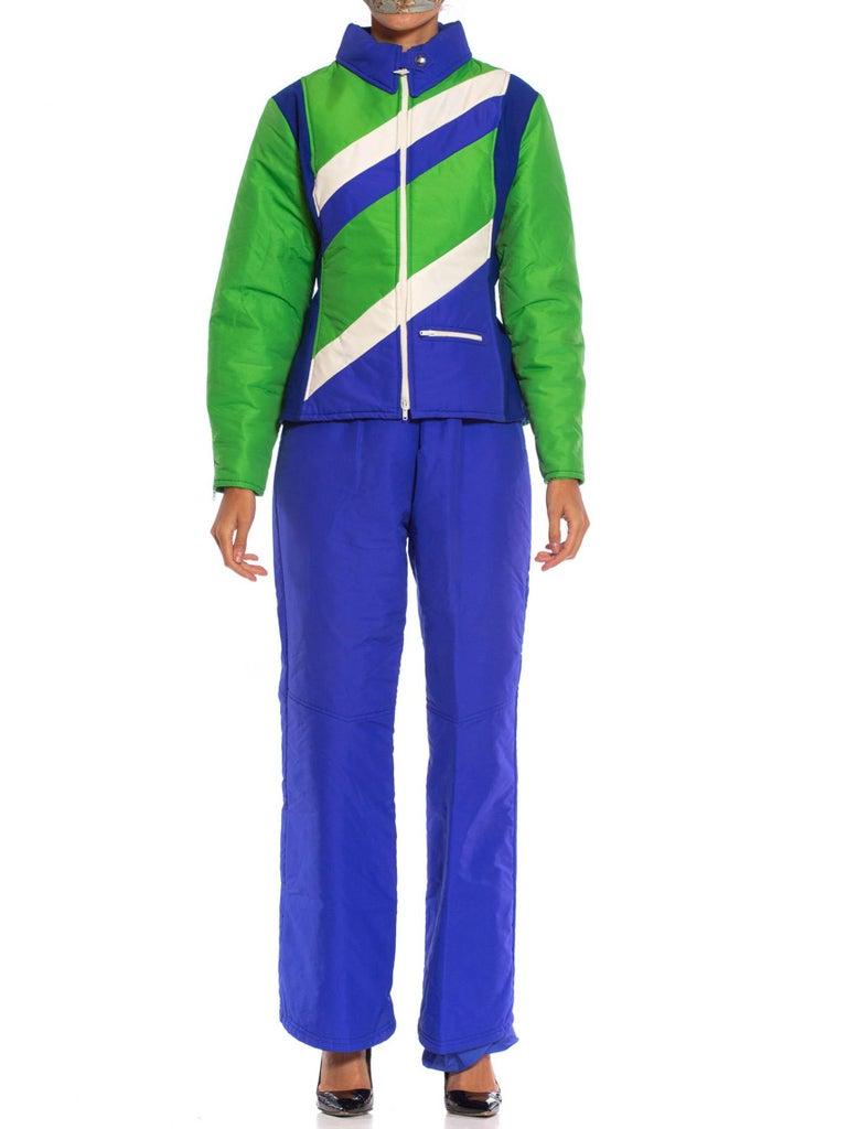 1970S Blue & Green Nylon Austrian Mod Ski Jacket Pants Ensemble For Sale 5