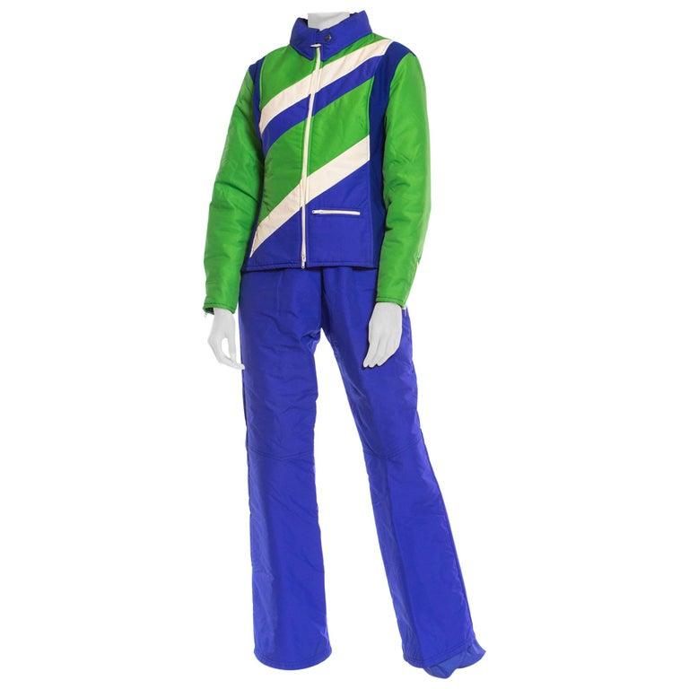 1970S Blue & Green Nylon Austrian Mod Ski Jacket Pants Ensemble For Sale