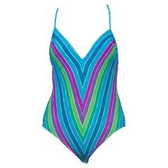 1970S Blue, Green & Purple Striped Polyester Jersey Swimsuit