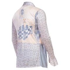 1970S Blue & Grey Nylon Tricot Jersey Men's Slinky Disco Shirt