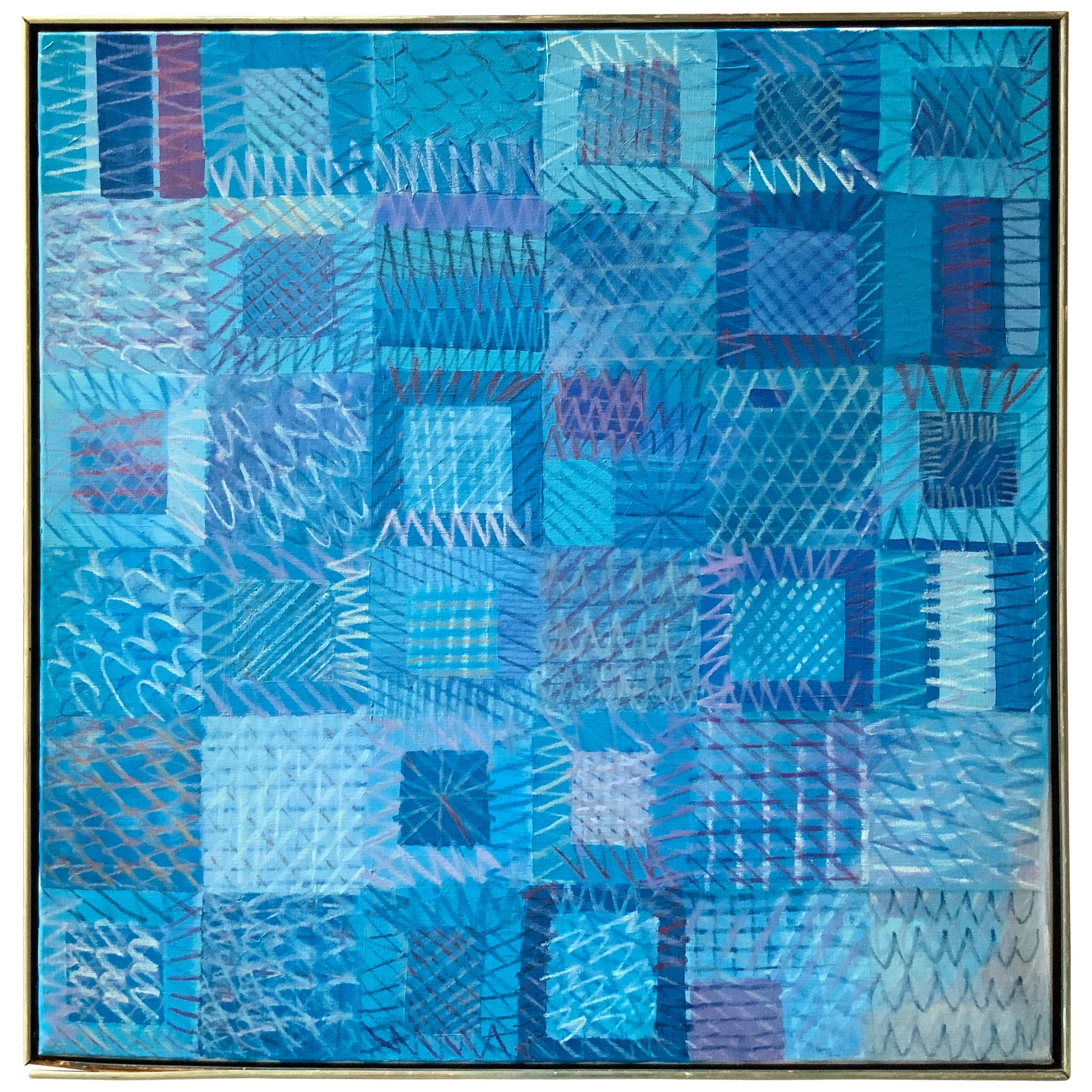 1970s Blue Infinity 1 Abstract Painting
