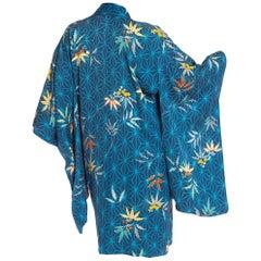 1970S Blue Japanese Silk Jacquard Geometric & Tropical Floral Kimono