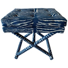 1970s X-Bench Newly Upholstered in Blue Le Zebre Fabric