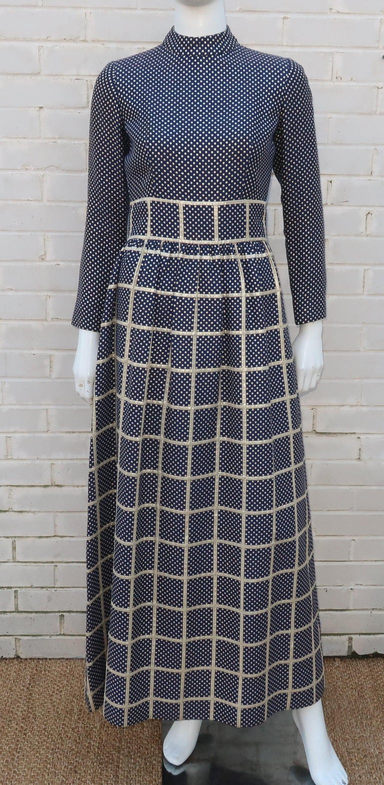 Black 1970's Blue & Metallic Gold Polka Dot Maxi Dress For Sale