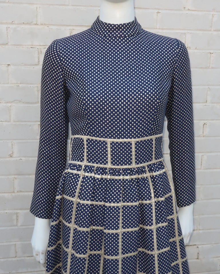 1970's Blue & Metallic Gold Polka Dot Maxi Dress In Good Condition For Sale In Atlanta, GA