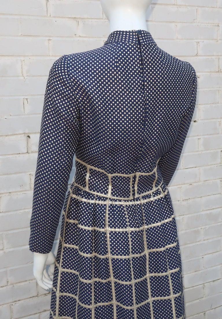 1970's Blue & Metallic Gold Polka Dot Maxi Dress For Sale 3