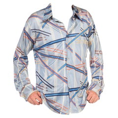 1970S Blue Polyester Tricot Jersey Men's Long Sleeve Geometric Disco Shirt