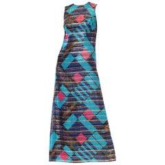 1970S Blue Silk & Lurex Lamé Pink Modernist Geometric Print Gown