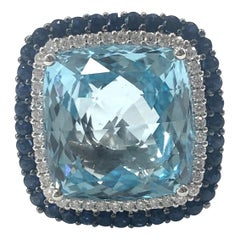 1970s Blue Topaz, Sapphire and Diamond Cluster Cocktail Ring