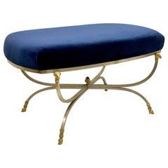 1970s Blue Velvet Neo-Classical Maison Jansen Style Ottoman