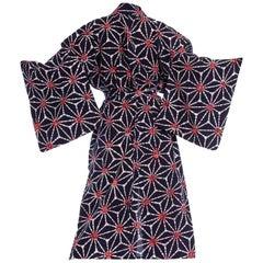 1970S Blue & White Batik Print Cotton Japanese Kimono Robe Sash