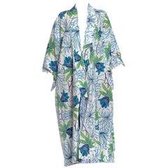 1970S Blue & White Cotton Ombré Hand Printed Floral Kimono