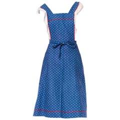 1970S Blue & White Cotton Scandinavian Pinafore Apron Dress