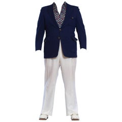1970'S Blue & White Men's Disco Nautical Americana Ensemble With Shoes Sz 12, XL