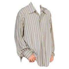 1970S Blue & White Poly/Nylon Tricot Jersey Men's Long Sleeve Disco Shirt