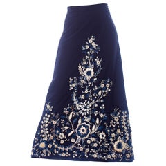 1970S Blue & White Polyester Linen Lined Maxi Skirt With Hand Embroidered Raffi