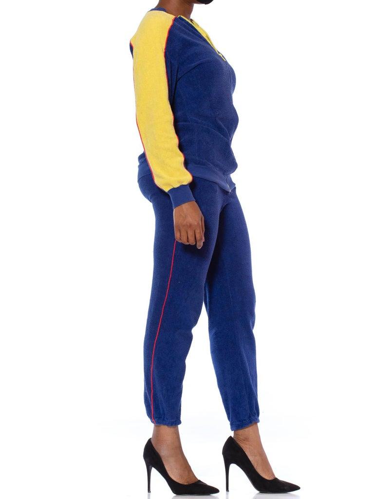 1970S Blue & Yellow Cotton Nylon Terry  Tracksuit Ensemble For Sale 6