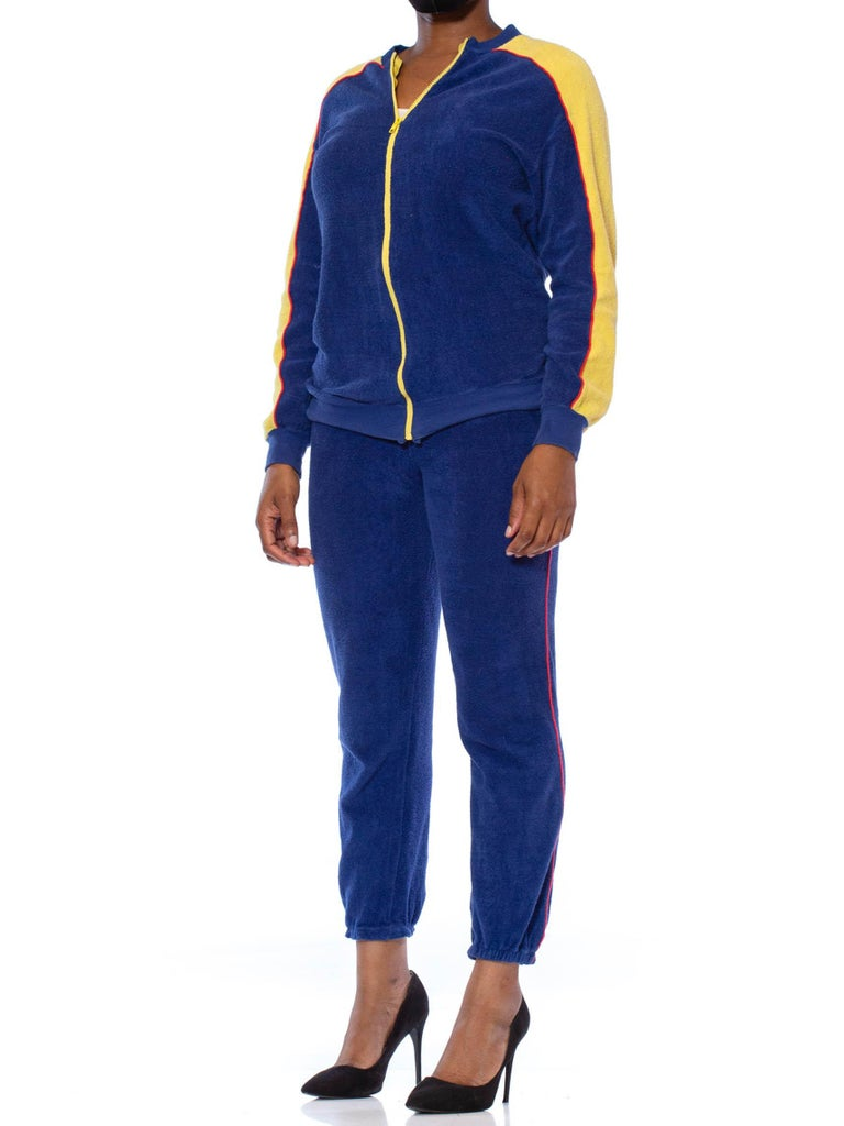 1970S Blue & Yellow Cotton Nylon Terry  Tracksuit Ensemble In Excellent Condition For Sale In New York, NY