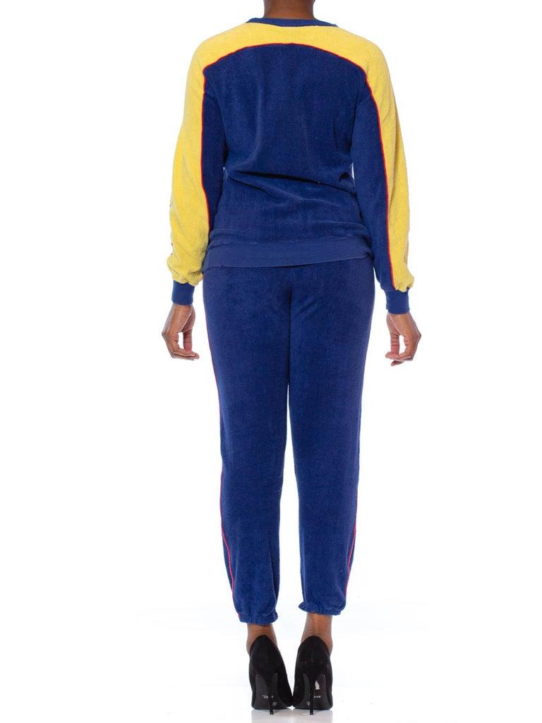 1970S Blue & Yellow Cotton Nylon Terry  Tracksuit Ensemble For Sale 1