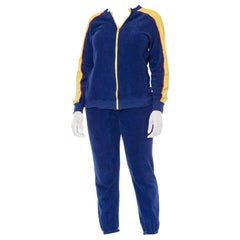 1970S Blue & Yellow Cotton Nylon Terry  Tracksuit Ensemble