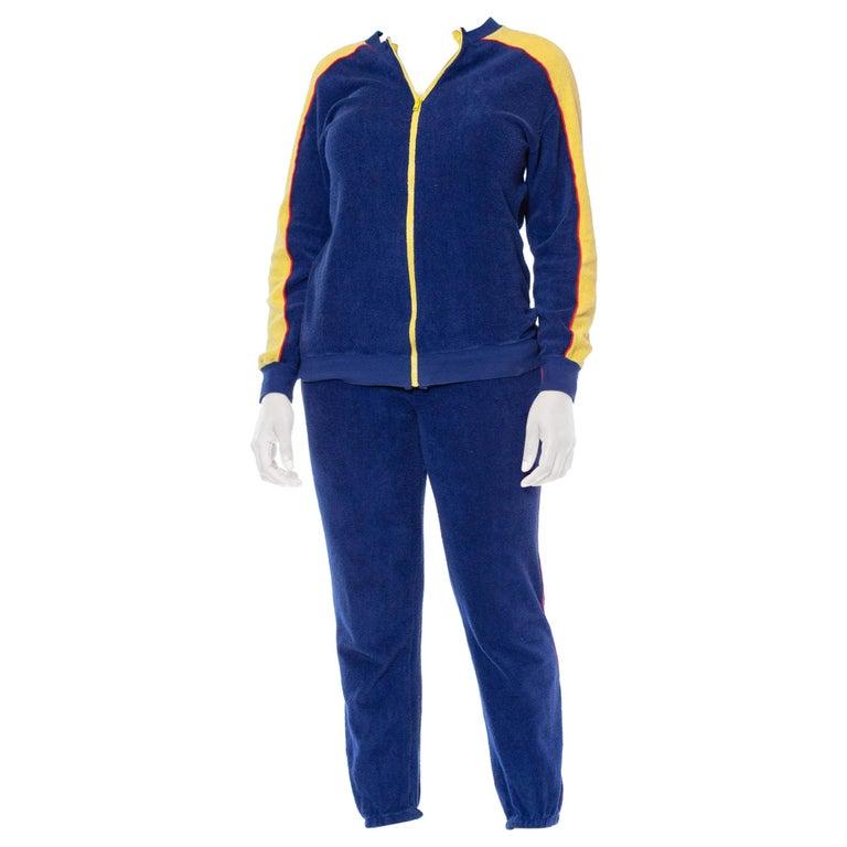 1970S Blue & Yellow Cotton Nylon Terry  Tracksuit Ensemble For Sale