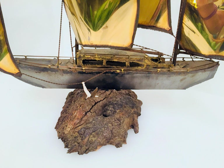 Unsigned brass boat sculpture.