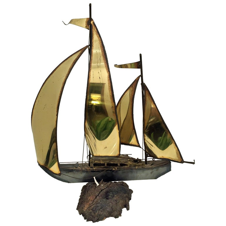 1970s Boat Brass Sculpture Mounted on Wood For Sale