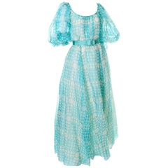 1970s Bob Mackie Ray Aghayan Aqua Blue Dot Organza Maxi Dress w Puff Sleeves