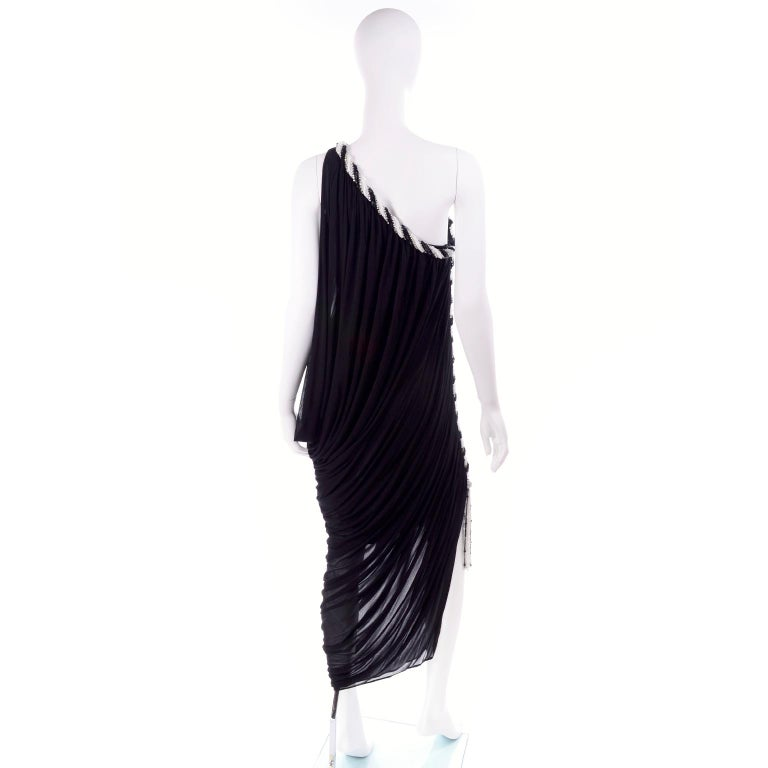 1970s Bob Mackie Vintage Black Silk Beaded Grecian Dress W One Shoulder For Sale 1