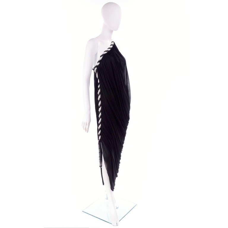 1970s Bob Mackie Vintage Black Silk Beaded Grecian Dress W One Shoulder For Sale 3