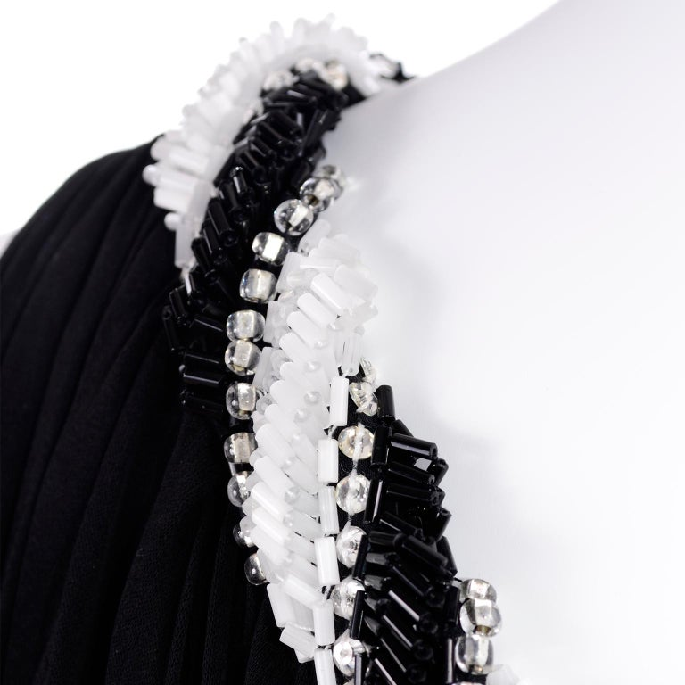 1970s Bob Mackie Vintage Black Silk Beaded Grecian Dress W One Shoulder For Sale 5