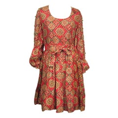 1970s Bohemian Dress Embellished Baby doll Dress