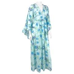 1970s Bohemian Floral Printed Dress