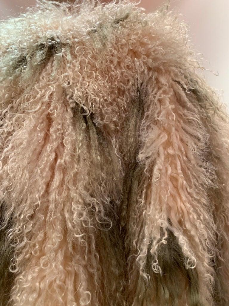 1970s Bohemian Mongolian Lamb Coat Converts To Poncho W/ Mink Tail Fringe For Sale 6