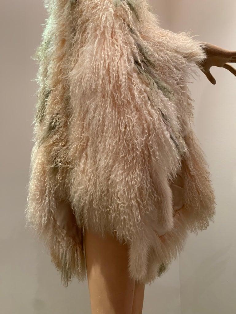 1970s Bohemian Mongolian Lamb Coat Converts To Poncho W/ Mink Tail Fringe For Sale 10