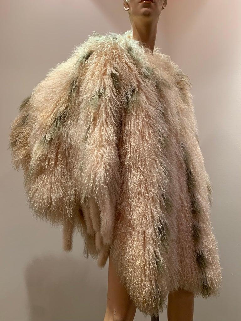 1970s Bohemian Mongolian Lamb Coat Converts To Poncho W/ Mink Tail Fringe For Sale 11