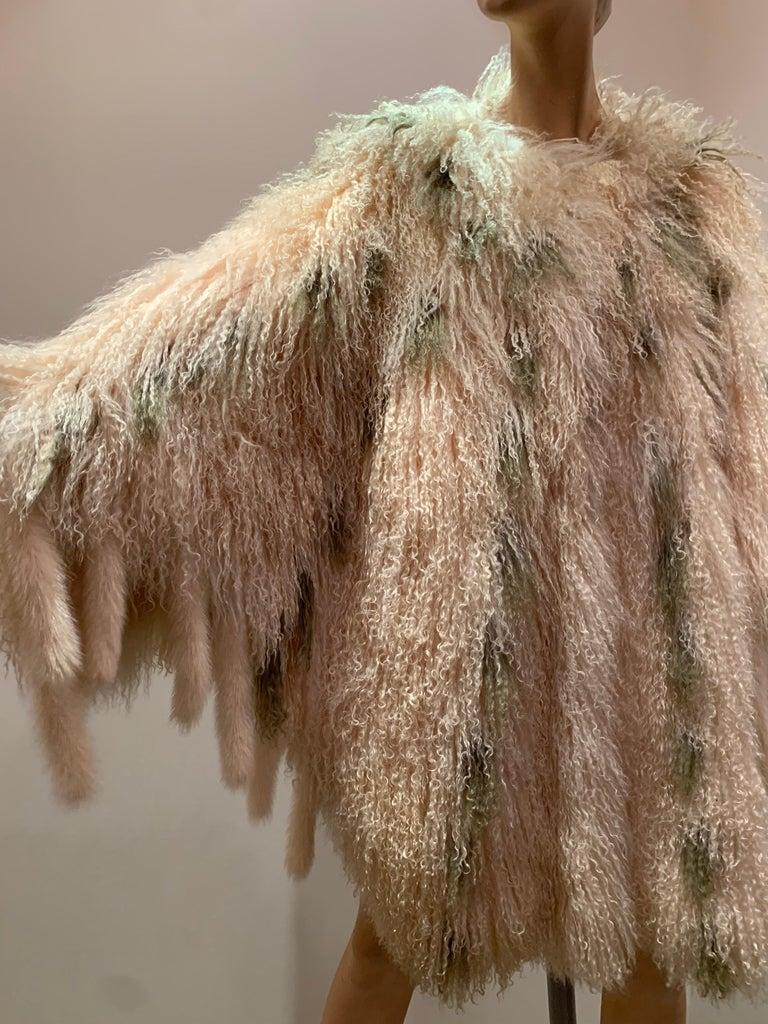 1970s Bohemian Mongolian Lamb Coat Converts To Poncho W/ Mink Tail Fringe For Sale 12