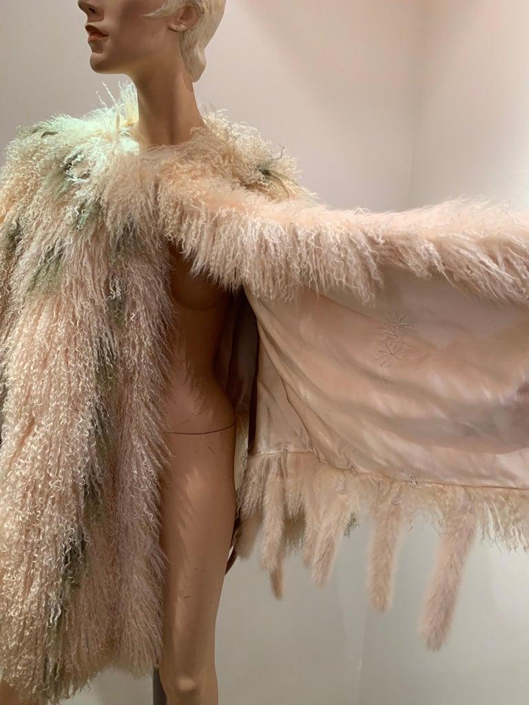1970s Bohemian Mongolian Lamb Coat Converts To Poncho W/ Mink Tail Fringe For Sale 14