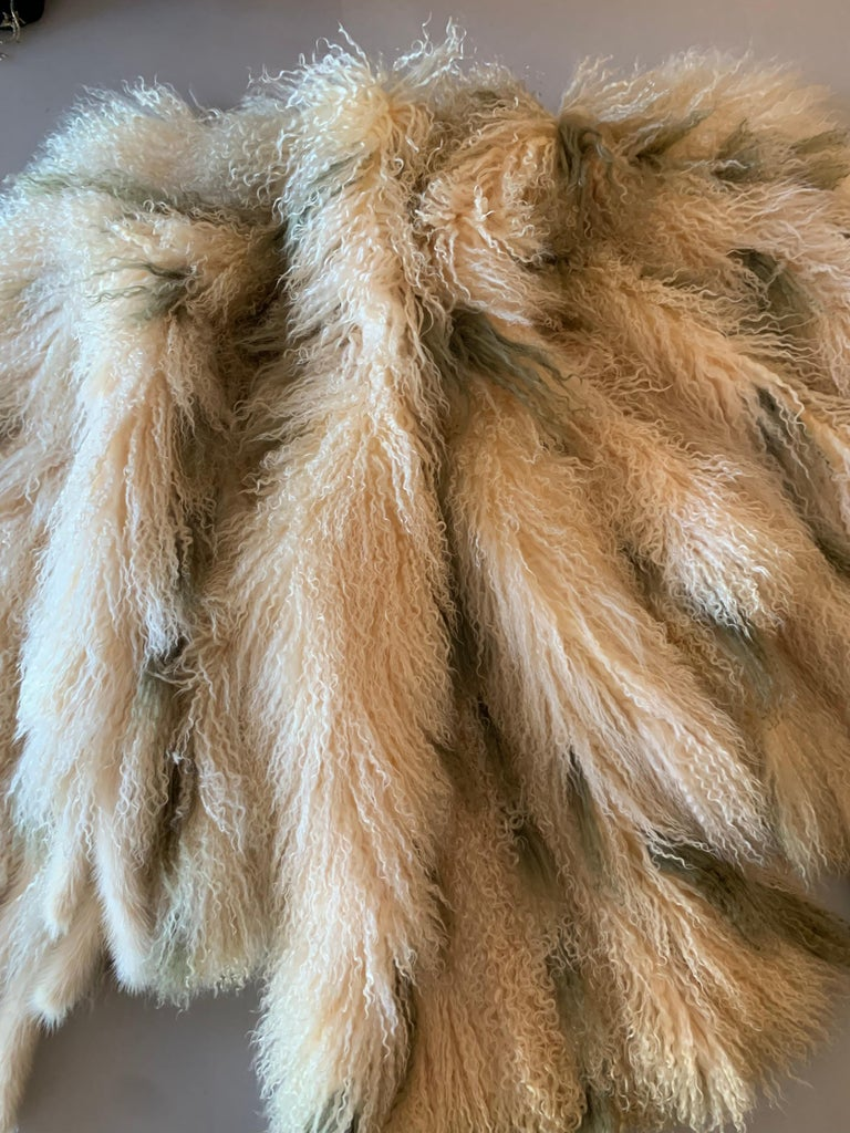 1970s Bohemian Mongolian Lamb Coat Converts To Poncho W/ Mink Tail Fringe For Sale 15