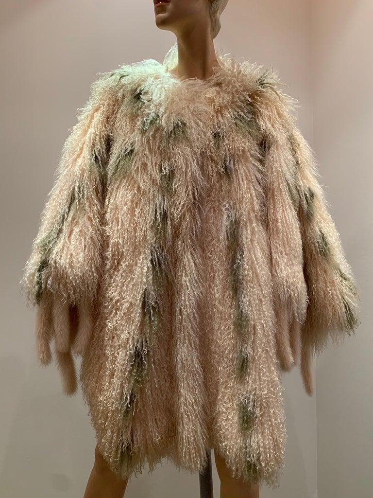 1970s Bohemian Mongolian Lamb Coat Converts To Poncho W/ Mink Tail Fringe For Sale 16