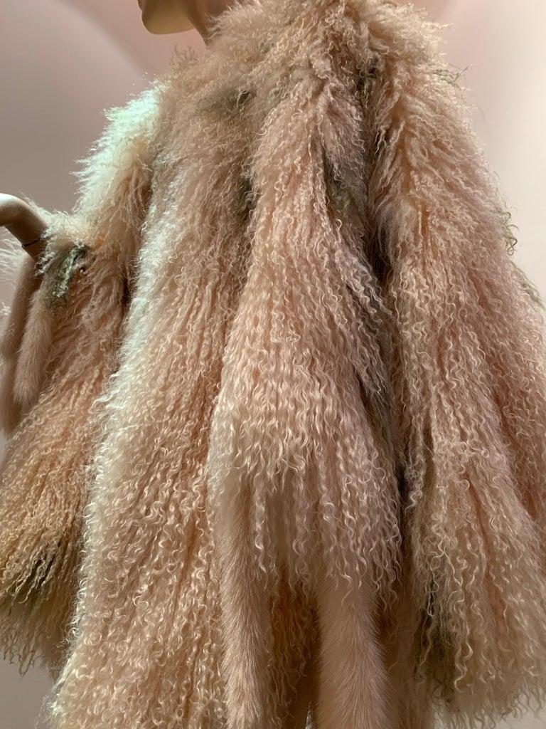 Women's 1970s Bohemian Mongolian Lamb Coat Converts To Poncho W/ Mink Tail Fringe For Sale