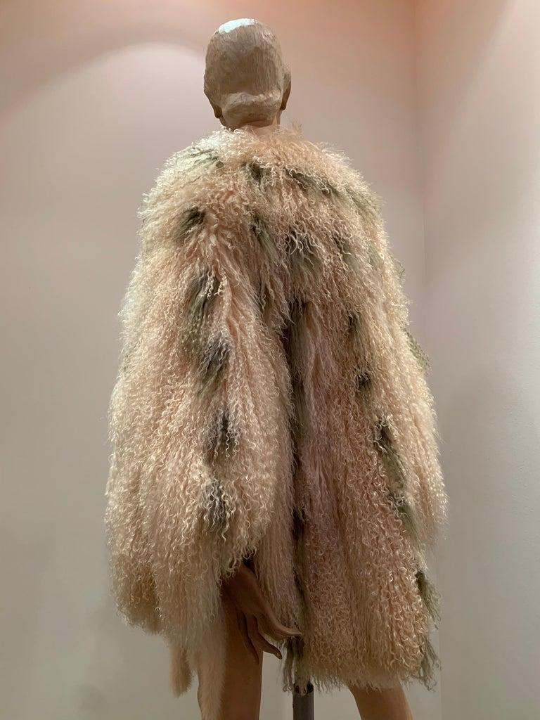 1970s Bohemian Mongolian Lamb Coat Converts To Poncho W/ Mink Tail Fringe For Sale 1