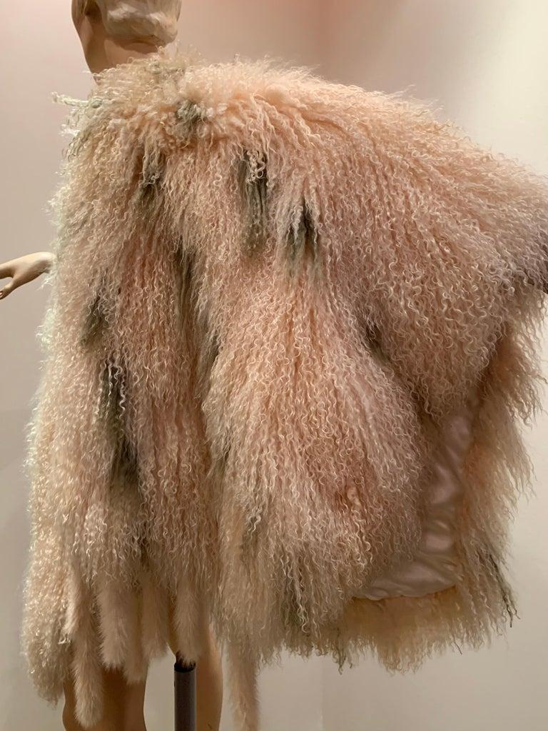 1970s Bohemian Mongolian Lamb Coat Converts To Poncho W/ Mink Tail Fringe For Sale 2