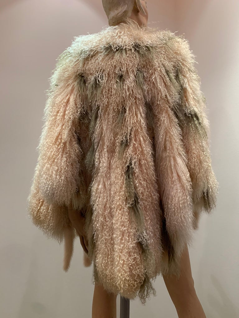 1970s Bohemian Mongolian Lamb Coat Converts To Poncho W/ Mink Tail Fringe For Sale 3