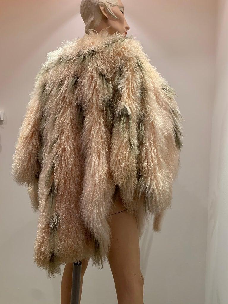 1970s Bohemian Mongolian Lamb Coat Converts To Poncho W/ Mink Tail Fringe For Sale 4